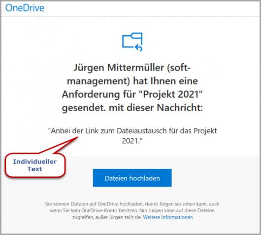E-Mail-Eingang beim Anforderungsempfänger