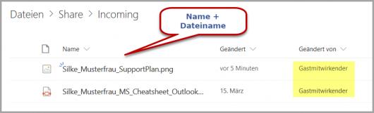 Der Upload-Ordner in OneDrive